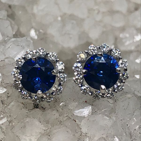 14k White Gold Ceylon Blue Sapphire and Diamond Halo Stud Earrings