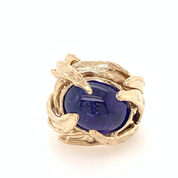Custom & Handmade 14kyg 11.33ct Cabochon Tanzanite Ring Brummitt Jewelry Design Studio LLC Raleigh, NC