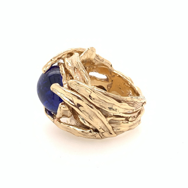 Custom & Handmade 14kyg 11.33ct Cabochon Tanzanite Ring Image 3 Brummitt Jewelry Design Studio LLC Raleigh, NC