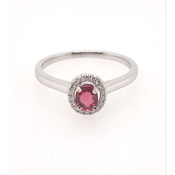 18kwg Oval Red Spinel in a 0.09cttw Diamond Halo Ring Brummitt Jewelry Design Studio LLC Raleigh, NC
