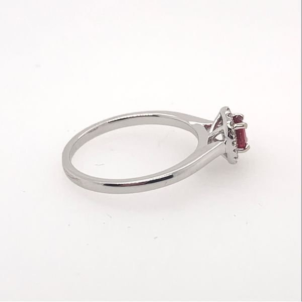 18kwg Oval Red Spinel in a 0.09cttw Diamond Halo Ring Image 2 Brummitt Jewelry Design Studio LLC Raleigh, NC