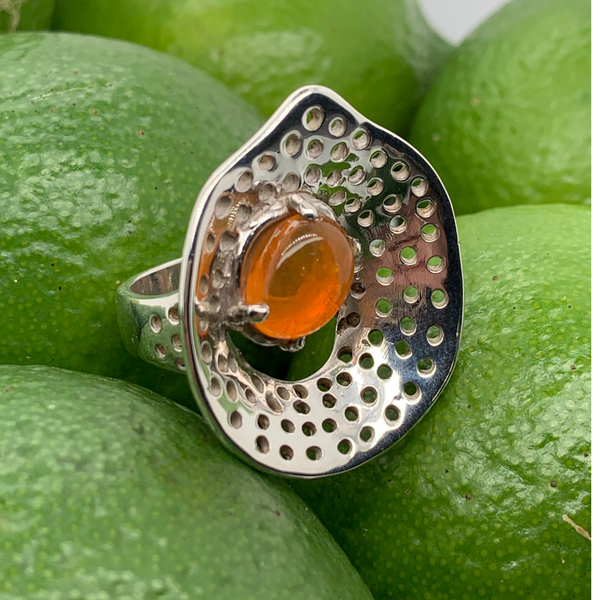 Handmade in Taxco Sterling Silver Fire Opal Concave Ring Modern Ring Brummitt Jewelry Design Studio LLC Raleigh, NC