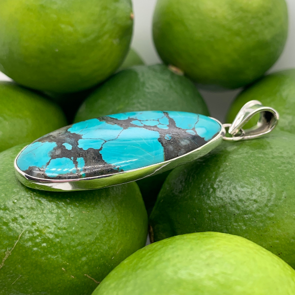 Handmade in Taxco Mexico Artisan Sterling Silver Oval Chinese Turquoise Pendant Image 2 Brummitt Jewelry Design Studio LLC Raleigh, NC