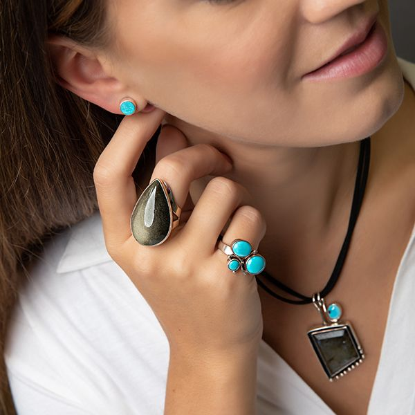 Handmade in Taxco Mexico Artisan Turquoise Sterling Silver Ring Image 3 Brummitt Jewelry Design Studio LLC Raleigh, NC