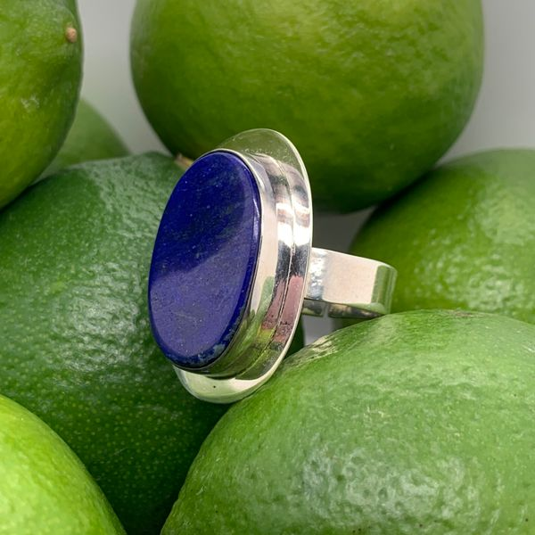 Handmade in Taxco Mexico Artisan Flat Cabochon Lapis Sterling Silver Ring Image 2 Brummitt Jewelry Design Studio LLC Raleigh, NC