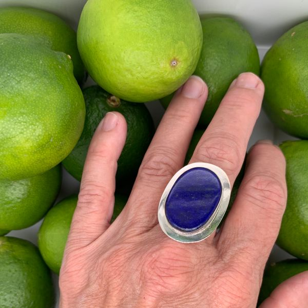 Handmade in Taxco Mexico Artisan Flat Cabochon Lapis Sterling Silver Ring Image 4 Brummitt Jewelry Design Studio LLC Raleigh, NC
