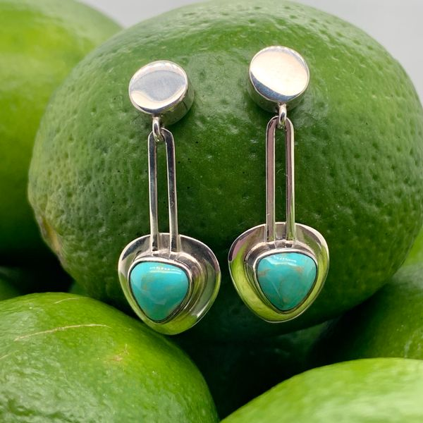 Handmade in Taxco by Artisan Guillermo Arregui Sterling Sliver Trillion Turquoise Drop Earrings Brummitt Jewelry Design Studio LLC Raleigh, NC