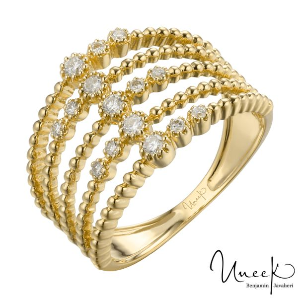 14k Yellow Gold 0.24cttw Diamond 5 Stacked Row Band