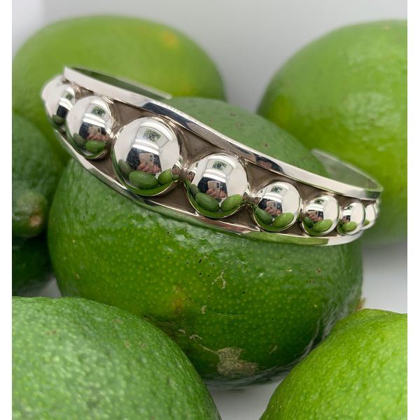 Made in Taxco Sterling Silver Oxidized Tapered Graduated Dot Cuff Brummitt Jewelry Design Studio LLC Raleigh, NC