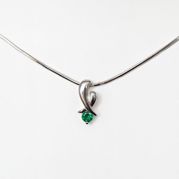 14kwg .12ct Round Emerald Pendant and Chain Brummitt Jewelry Design Studio LLC Raleigh, NC