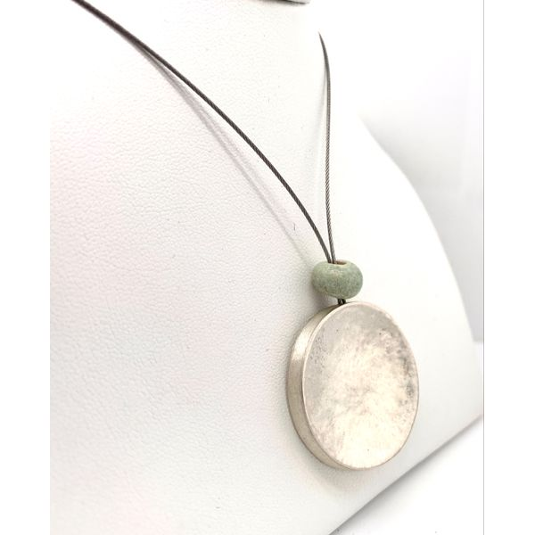 Handmade in Taxco by Artisan Agnes Seabass Ancient Jade Concave Disc Wire Necklace Image 2 Brummitt Jewelry Design Studio LLC Raleigh, NC