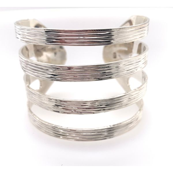 Handmade Sterling Silver Textured Four Line Statement Cuff Brummitt Jewelry Design Studio LLC Raleigh, NC
