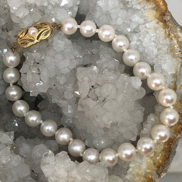 """7.5"""" Gem Quality Pearl Bracelet with 18k Yellow Gold Pearl Accent Catch Brummitt Jewelry Design Studio LLC Raleigh, NC"""
