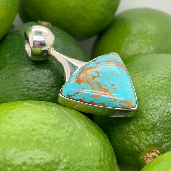 Artisan Guille Arregui sterling silver pendant with Turquoise  Image 2 Brummitt Jewelry Design Studio LLC Raleigh, NC