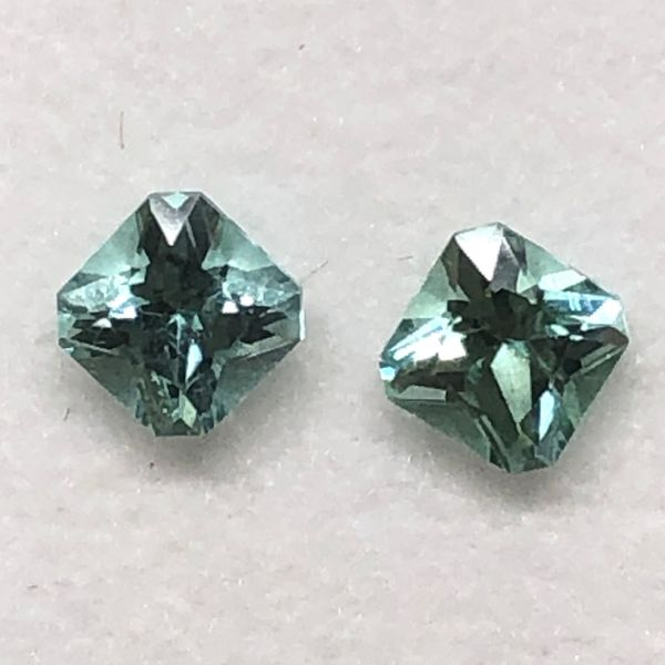 Loose .63cttw, 4mm Pair Radiant Cut Mint Green Tourmalines Brummitt Jewelry Design Studio LLC Raleigh, NC