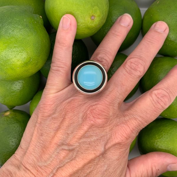 Handmade in Taxco by Artisan Guillermo Arregui Sterling Silver Blue Chalcedony Ring Image 3 Brummitt Jewelry Design Studio LLC Raleigh, NC