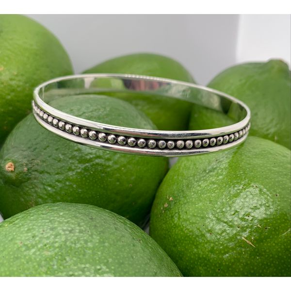Made in Taxco Sterling Silver Small Oxidized Dot Bangle Bracelet Brummitt Jewelry Design Studio LLC Raleigh, NC