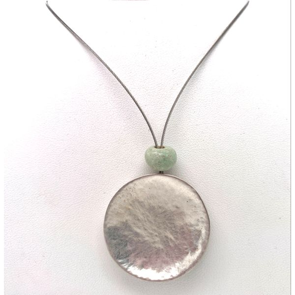 Handmade in Taxco by Artisan Agnes Seabass Ancient Jade Concave Disc Wire Necklace Brummitt Jewelry Design Studio LLC Raleigh, NC