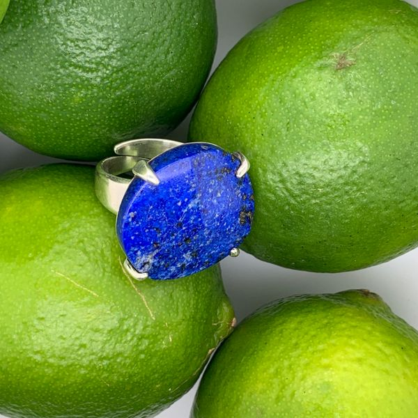 Handmade in Taxco by Artisan Guillermo Arregui Sterling Silver Lapis Ring Image 2 Brummitt Jewelry Design Studio LLC Raleigh, NC