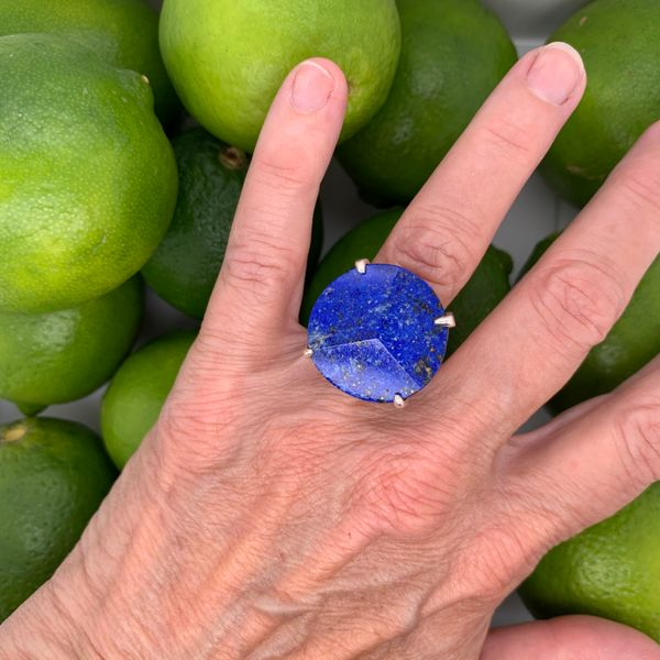 Handmade in Taxco by Artisan Guillermo Arregui Sterling Silver Lapis Ring Image 3 Brummitt Jewelry Design Studio LLC Raleigh, NC