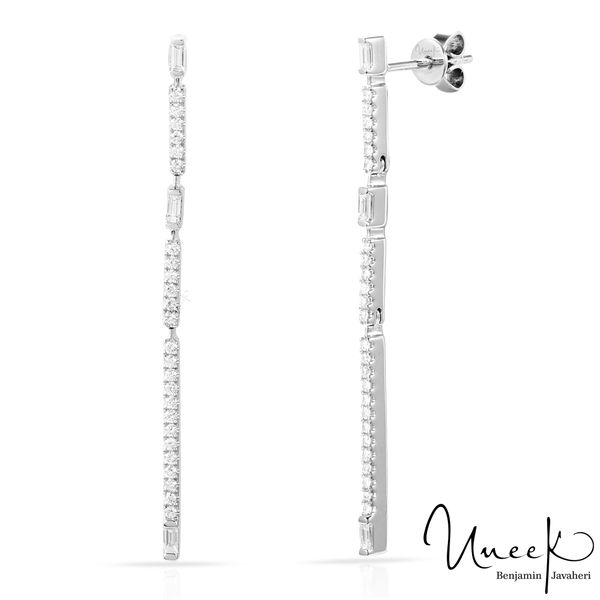Uneek  Dangle Earrings with Baguettes & Round Diamonds, in 18k White Gold