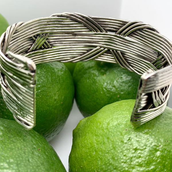 "Handmade in Taxco Sterling Silver Horizonal Wire with Interwoven ""X"" Design Cuff Bracelet Image 2 Brummitt Jewelry Design Studio LLC Raleigh, NC"