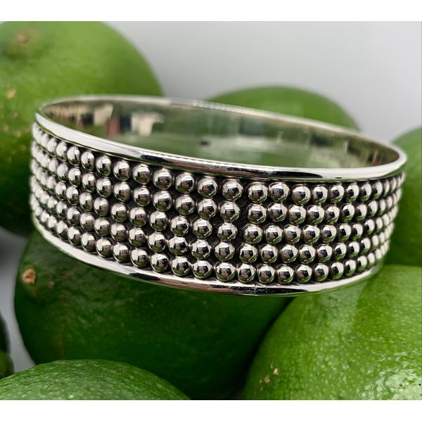 Made in Taxco Mexico Sterling Silver Oxidized 5 Row Dot Bangle Bracelet Brummitt Jewelry Design Studio LLC Raleigh, NC