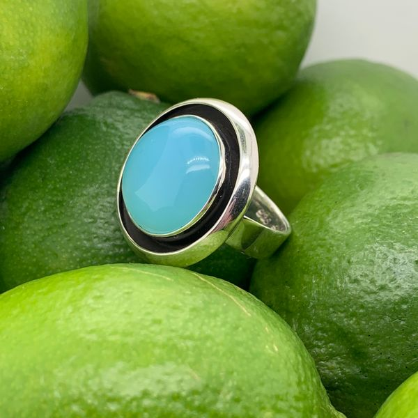 Handmade in Taxco by Artisan Guillermo Arregui Sterling Silver Blue Chalcedony Ring Brummitt Jewelry Design Studio LLC Raleigh, NC