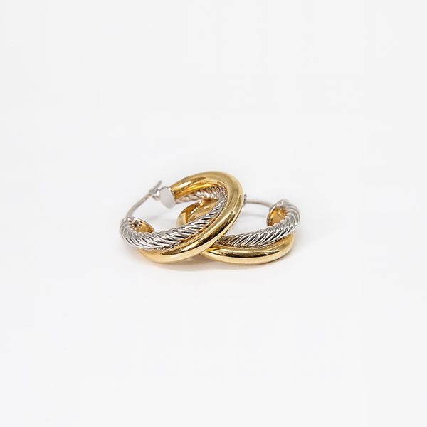 14k Two Tone Intertwining Hoop Earrings Brummitt Jewelry Design Studio LLC Raleigh, NC