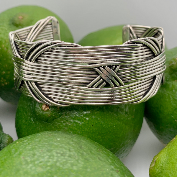 "Handmade in Taxco Sterling Silver Horizonal Wire with Interwoven ""X"" Design Cuff Bracelet Brummitt Jewelry Design Studio LLC Raleigh, NC"