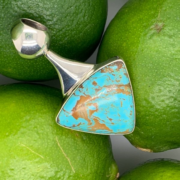 Artisan Guille Arregui sterling silver pendant with Turquoise  Brummitt Jewelry Design Studio LLC Raleigh, NC