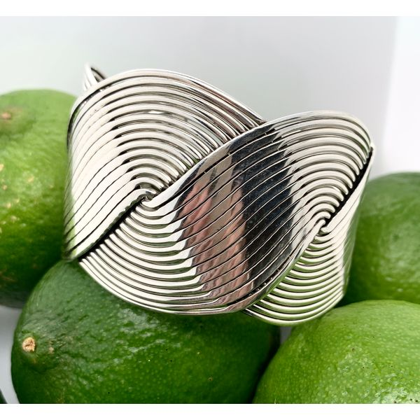 Made in Taxco Sterling Silver Intertwined Wave Cuff Bracelet Brummitt Jewelry Design Studio LLC Raleigh, NC