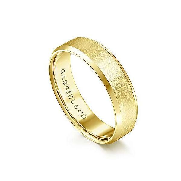 Isaiah Sandblast Center and Beveled Edge Mens Wedding Band Image 2 Carter's Jewelry, Inc. Petal, MS