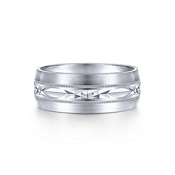 Russell Engraved Center Pattern Milgrain Channel Mens Wedding Band Carter's Jewelry, Inc. Petal, MS