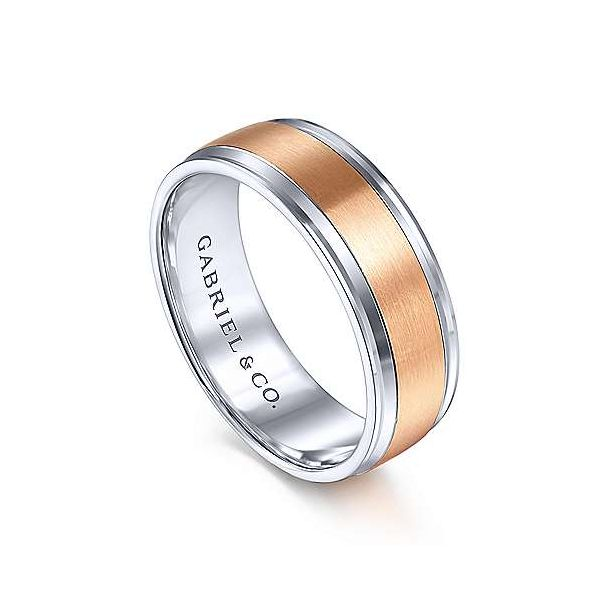 Gabriel Two Tone Satin Center Mens Wedding Band Image 2 Carter's Jewelry, Inc. Petal, MS