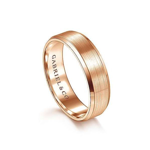 Caleb Rounded Satin Center and Polished Beveled Edge Mens Wedding Band Image 2 Carter's Jewelry, Inc. Petal, MS