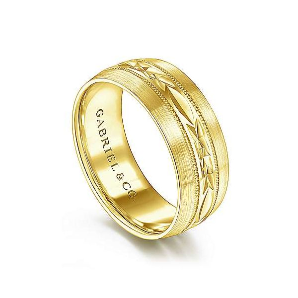 Russell Engraved Center Pattern Milgrain Channel Mens Wedding Band Image 2 Carter's Jewelry, Inc. Petal, MS