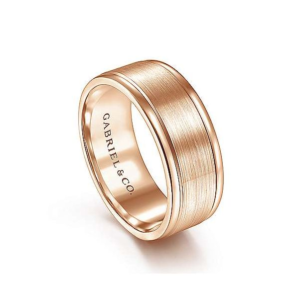 Emmett Satin Center and Polished Edge Mens Wedding Band Image 2 Carter's Jewelry, Inc. Petal, MS
