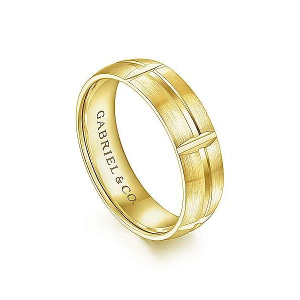 Levi Linear Engraved Stations Mens Wedding Band Image 2 Carter's Jewelry, Inc. Petal, MS