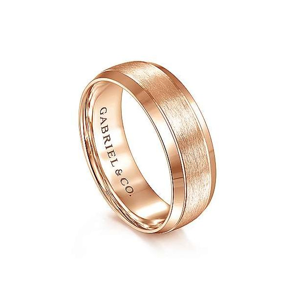 Robert Rounded Satin Center and Beveled Edge Mens Wedding Band Image 2 Carter's Jewelry, Inc. Petal, MS