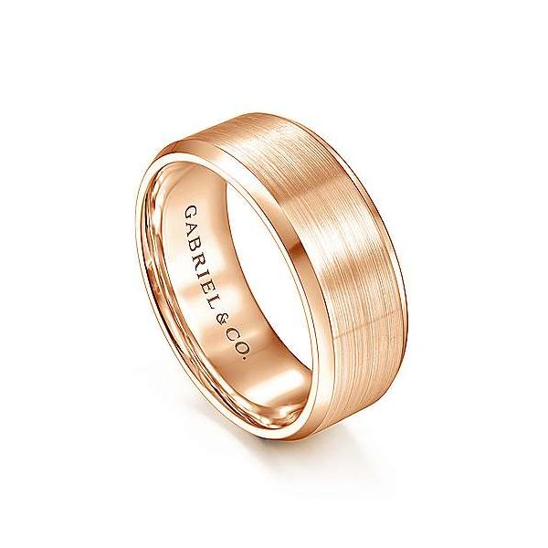 Sebastian Satin Center and Beveled Edge Mens Wedding Band Image 2 Carter's Jewelry, Inc. Petal, MS