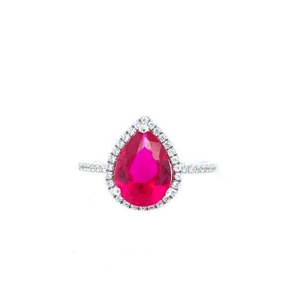 Sterling Silver Created Ruby Halo Ring Confer's Jewelers Bellefonte, PA