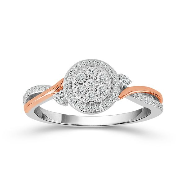Sterling Silver and 10K Rose Gold Diamond Cluster Ring Confer's Jewelers Bellefonte, PA
