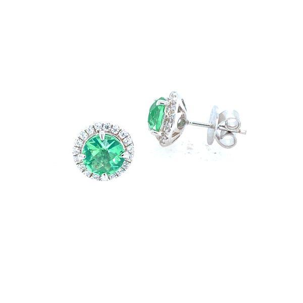 Green Amethyst Sterling Silver Halo Earrings Confer's Jewelers Bellefonte, PA