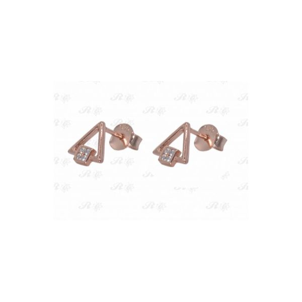 Sterling Silver Rose Gold Plated Triangle Earrings Image 2 Confer's Jewelers Bellefonte, PA