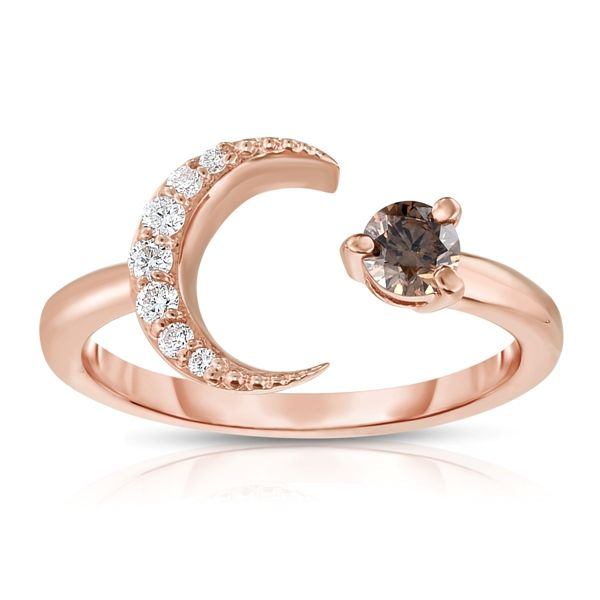 Rose Gold Diamond Moon Ring with Champagne Diamond Confer's Jewelers Bellefonte, PA
