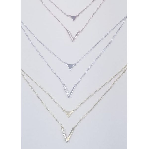 Sterling Silver Yellow Gold Plated Layered 'V' Necklace Confer's Jewelers Bellefonte, PA