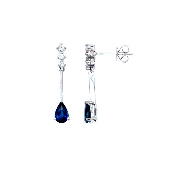 14k White Gold Sapphire and Diamond Drop Earrings Confer's Jewelers Bellefonte, PA