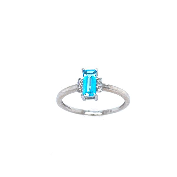 Emerald Cut Blue Topaz and Diamond Ring Confer's Jewelers Bellefonte, PA