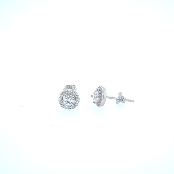 Sterling Silver Halo Earrings Confer's Jewelers Bellefonte, PA